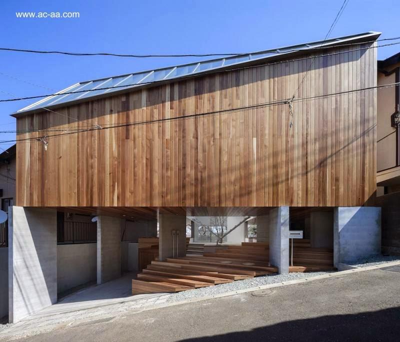 Fachada de casa residencial japonesa Minimalista