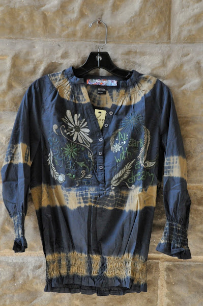 Cotton Tie dyed blue blouse with embroidery, S-XL, $88