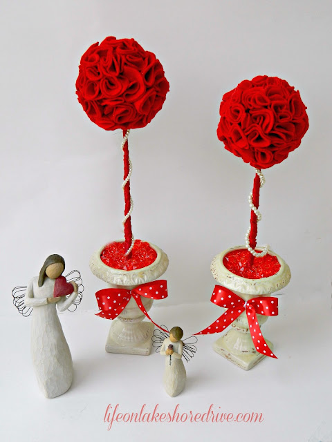 Valentine's Day DIY Felt Roses Topiary using wiffle balls tutorial