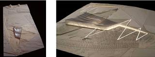 """ماكيت للتصميم المعماري للمتحف المصري الكبير ويظهر فيه التواصل البصري للمتحف مع أهرامات """"الجيزة"""""""