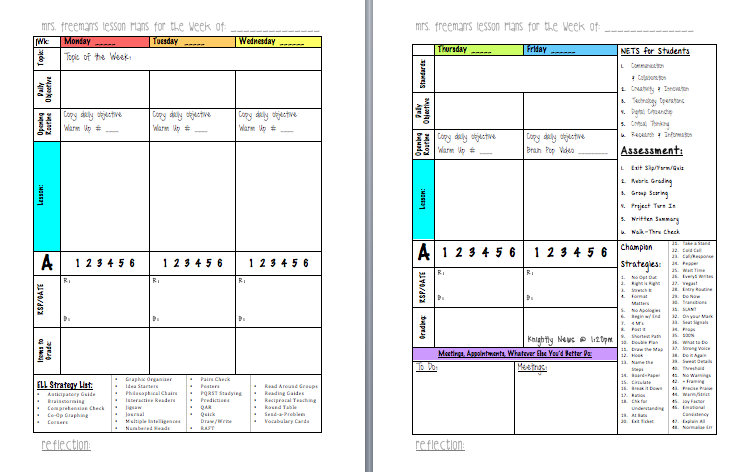 one point lesson template .