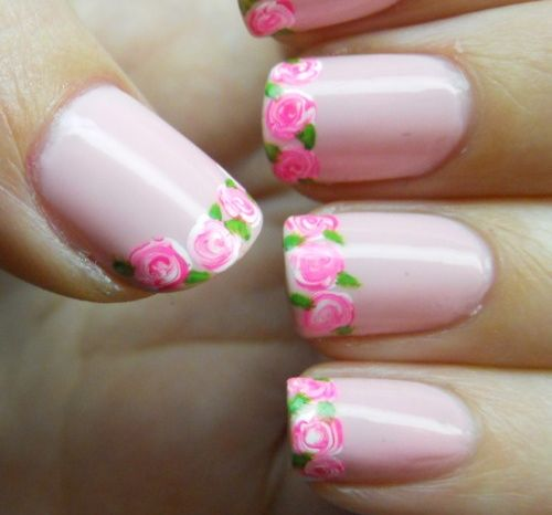 floral french tip manicure