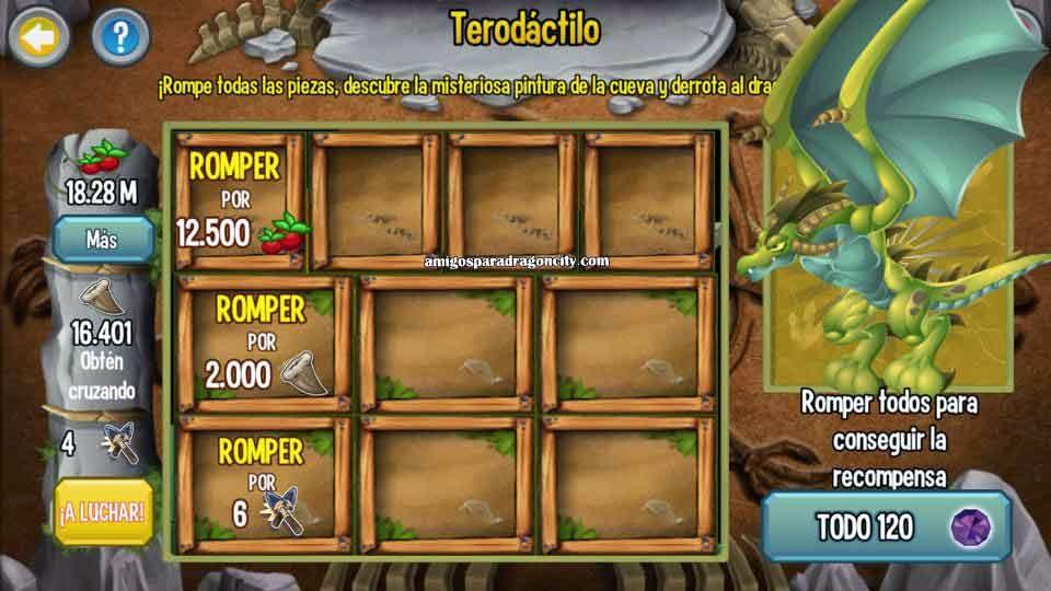 imagen de las tareas de terodactilo de la isla dinosaurio de dragon city