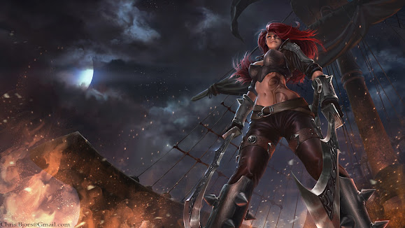 katarina league of legends girl hd wallpaper lol