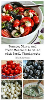 Tomato, Olive, and Fresh Mozzarella Salad with Basil Vinaigrette [from KalynsKitchen.com]