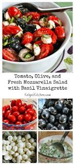 Tomato, Olive, and Fresh Mozzarella Salad with Basil Vinaigrette [from KalynsKitchen.com]