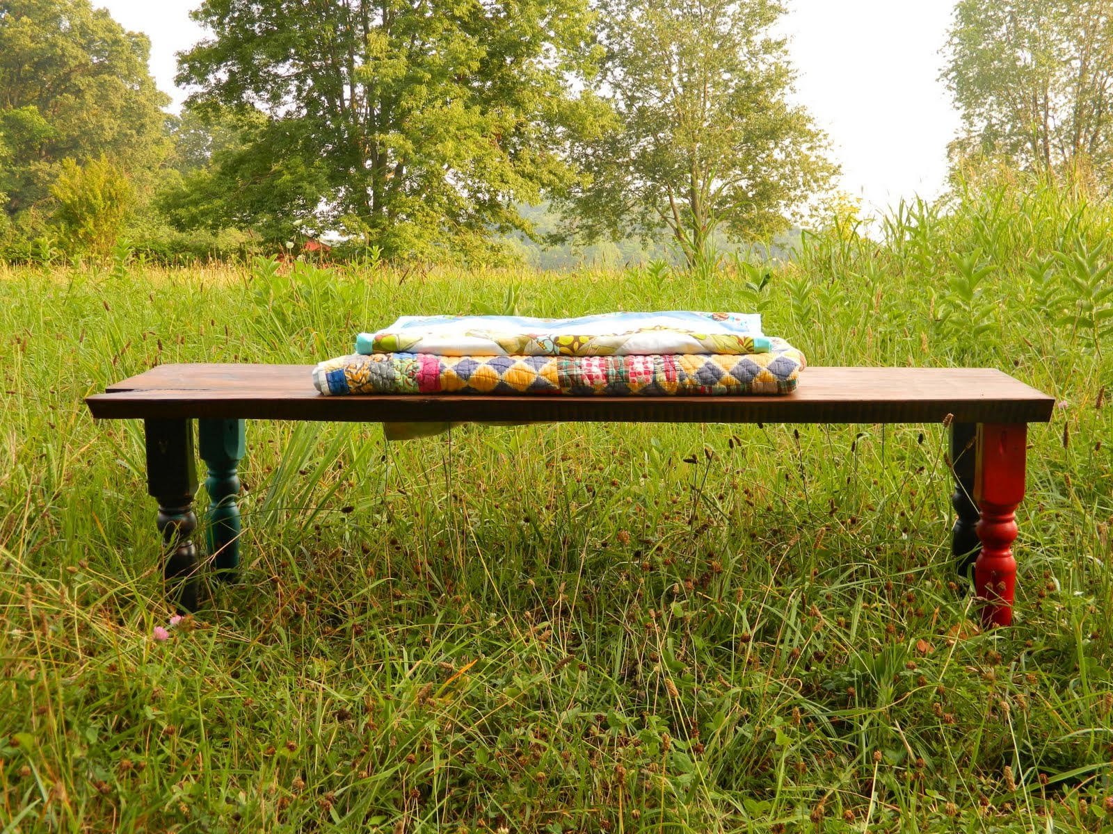 Sew Homegrown Rustic Spindle Bench