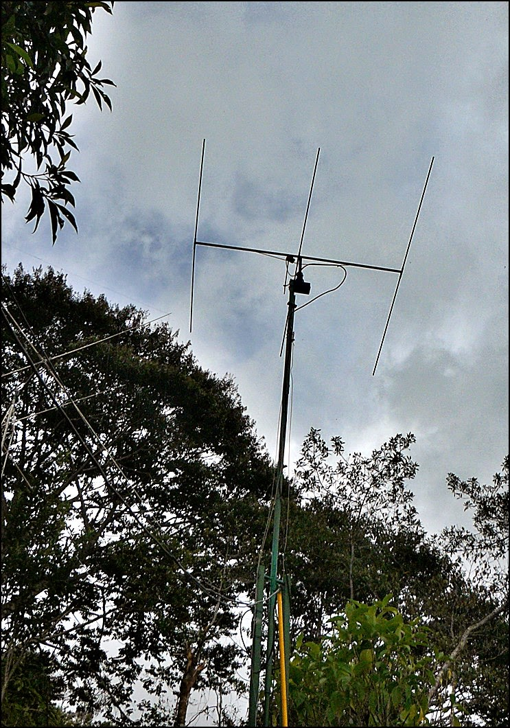 6-meter yagi from below on mast