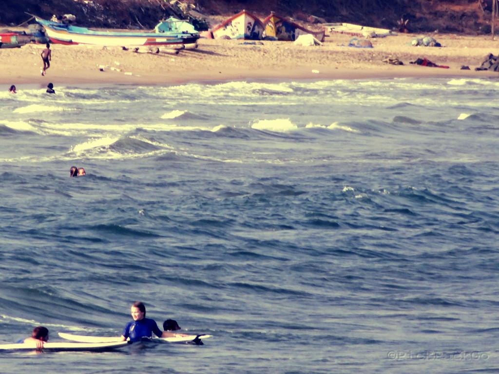 Surfing At Bodhi Beach Pondicherry India Pick Pack Go
