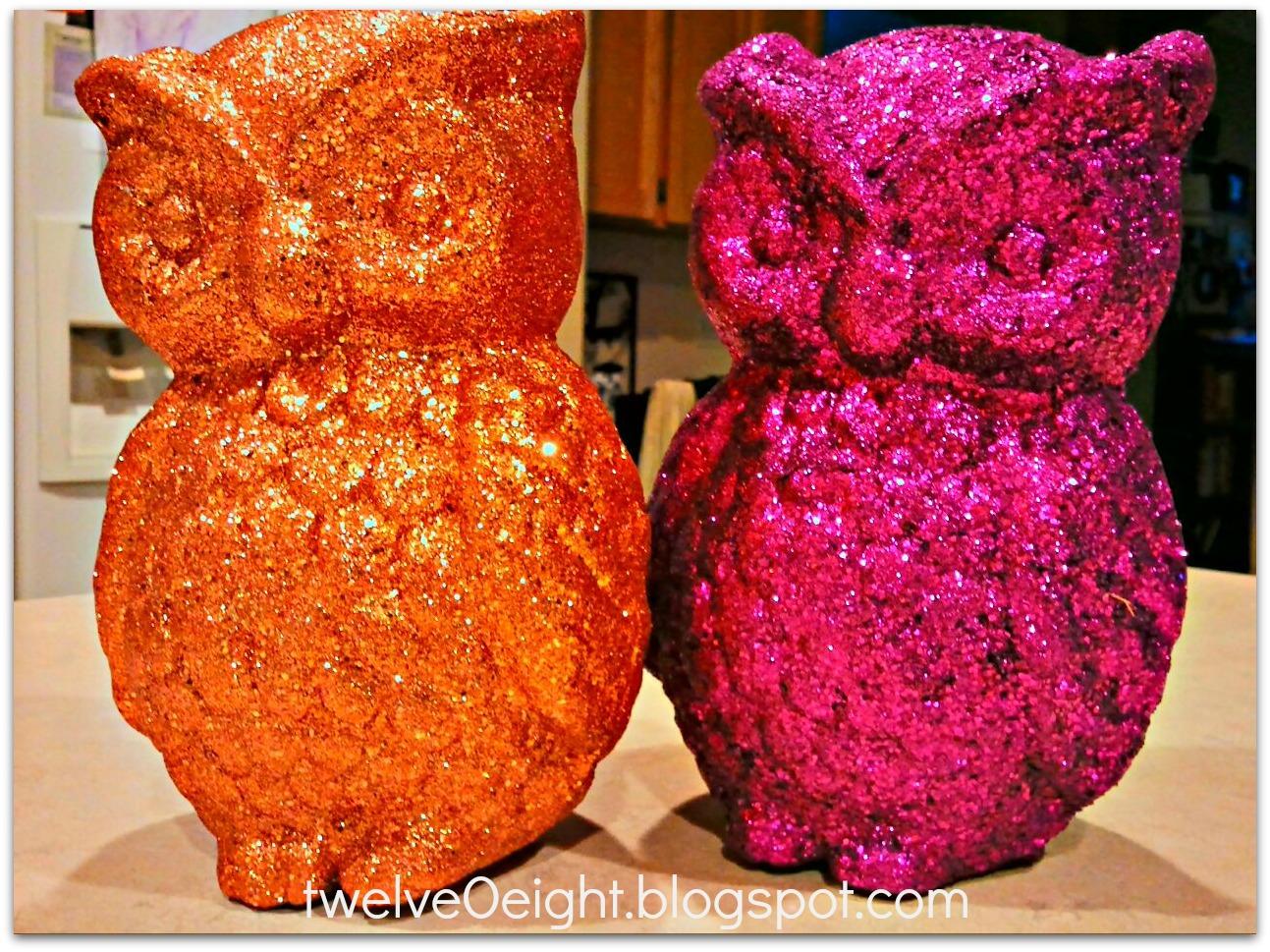 Diy glitter owls for Diy paper mache owl