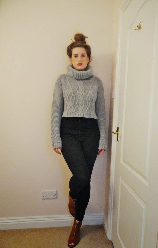 knit crop jumper grey
