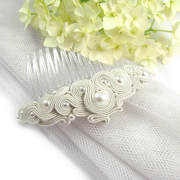 Grzebień ślubny sutasz ivory z perłami