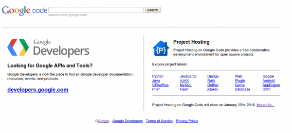 Layanan Google Code Akan ditutup