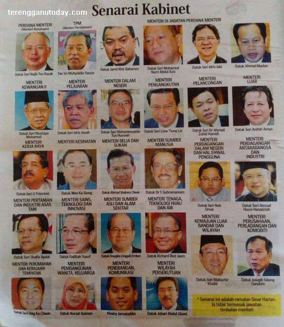 TERKINI: Senarai Rasmi Menteri Kabinet Malaysia 2013