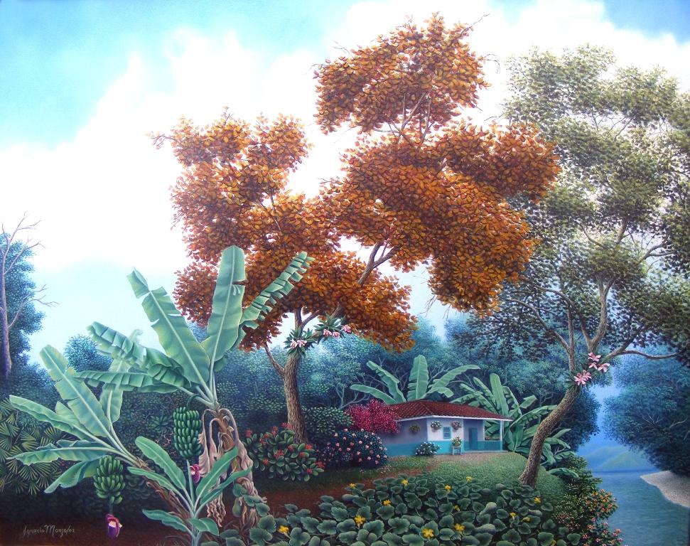 ... lienzo paisaje puntillista al óleo pintores colombianos paisajes