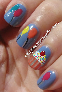 Birthday Nail Art - Cupcake and Balloons cute and fun manicure