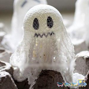 ping-pong balls Handmade Halloween ghosts