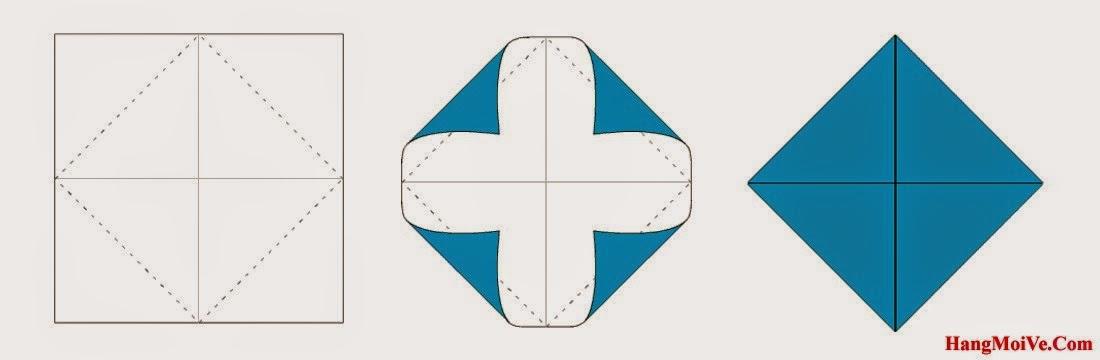 Bước 3: Gấp 4 góc của tờ giấy lại như hình 2 bên dưới. Ta được một hình tứ giác đều.