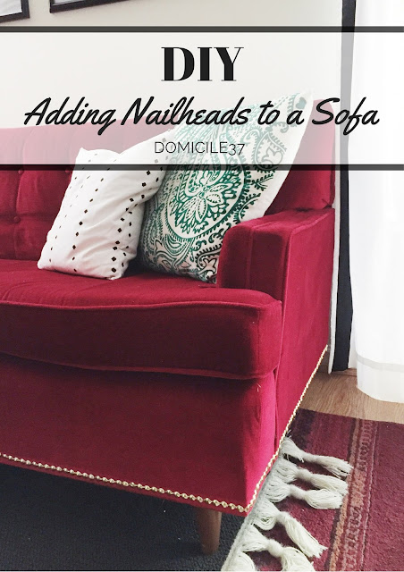 Brass nailhead DIY on furniture, Decorative nailhead trim
