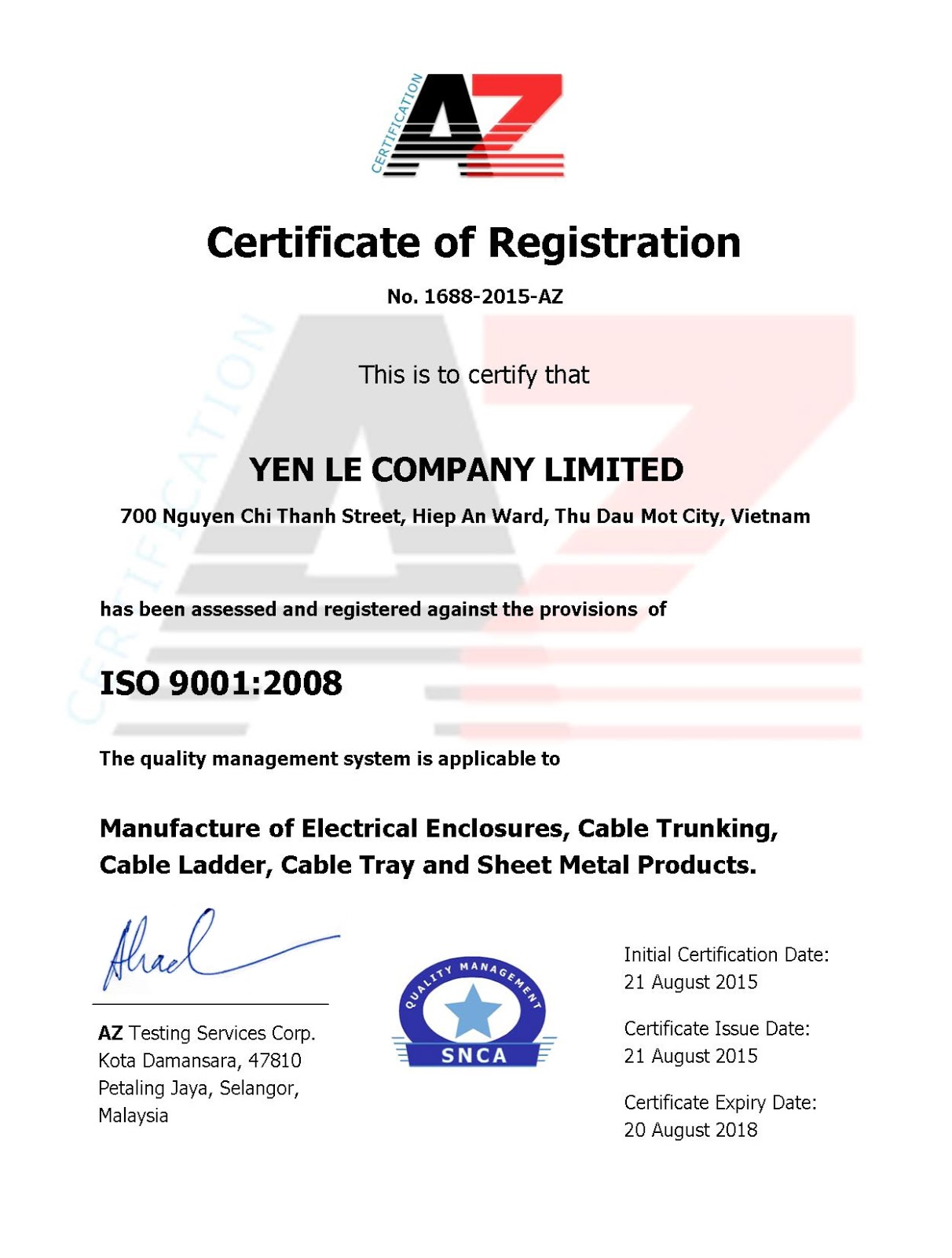 Iso 90012008 certificate vietnam cable tray systems iso 90012008 certificate 1betcityfo Gallery