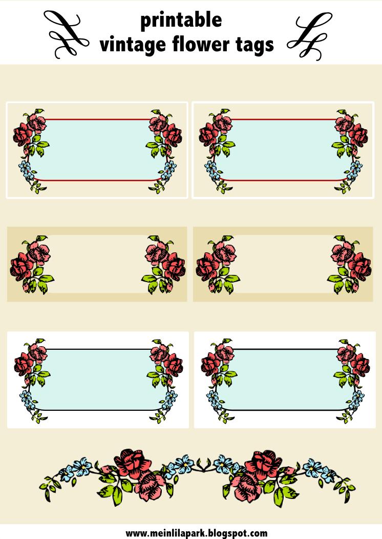 Free digital vintage rose tags and border ausdruckbare