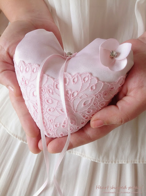 Ring bearer pillow heart shaped