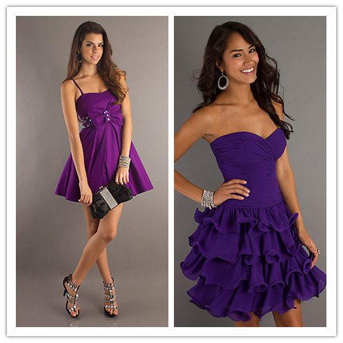short purplr junior prom dresses