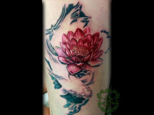 Bộ hình xăm cá chép hoa sen đẹp 2015 5