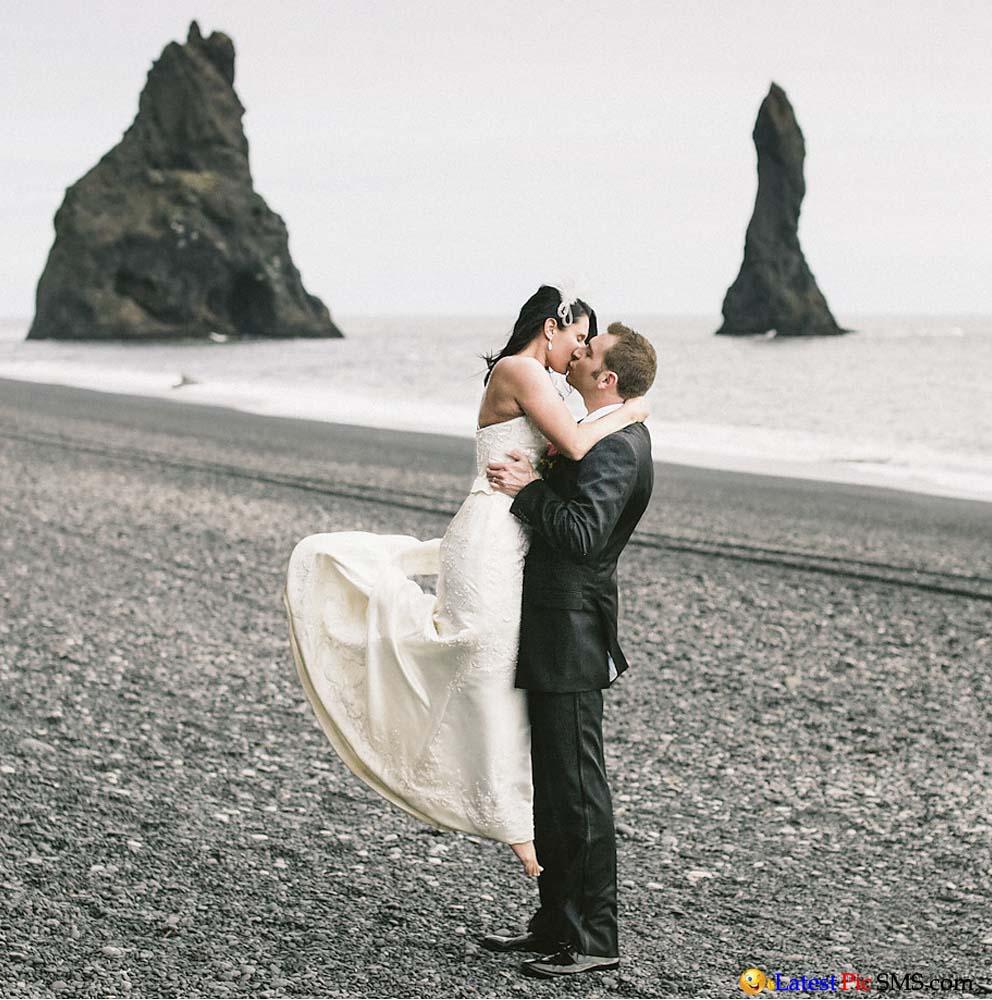 kiss couple on beach