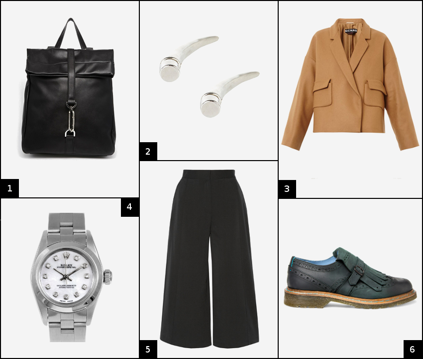 workwear outfit featuring coulottes brogues a short rochas coat a rolex watch and philippe model brogues