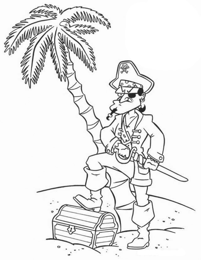 Pirate treasure coloring pages - photo#15