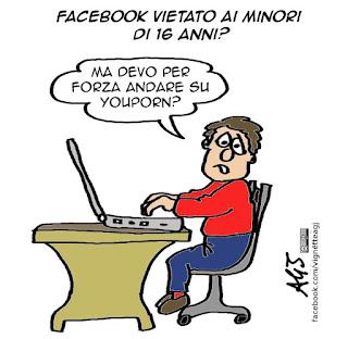Facebook, Social network, vietato ai minori, vignetta satira
