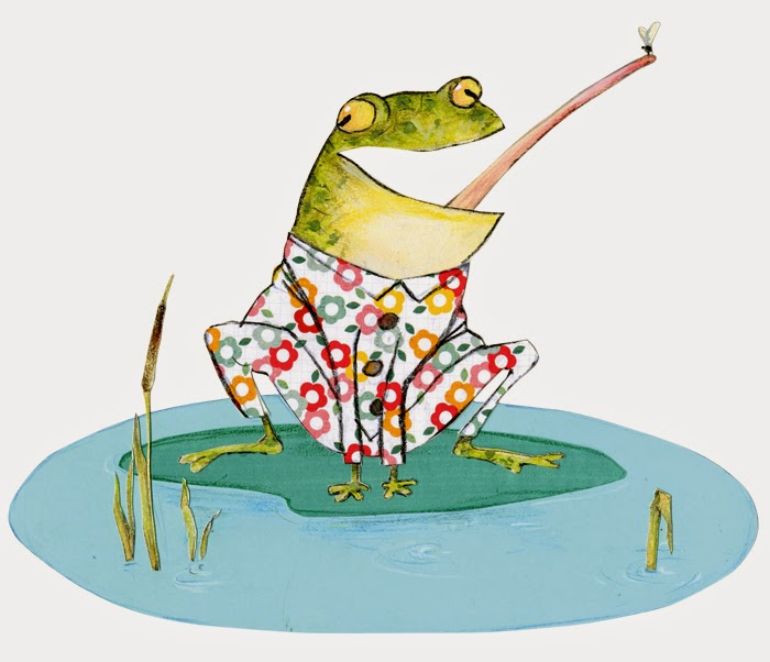 illustration of a frog in pyjamas in a pond by Robert Wagt