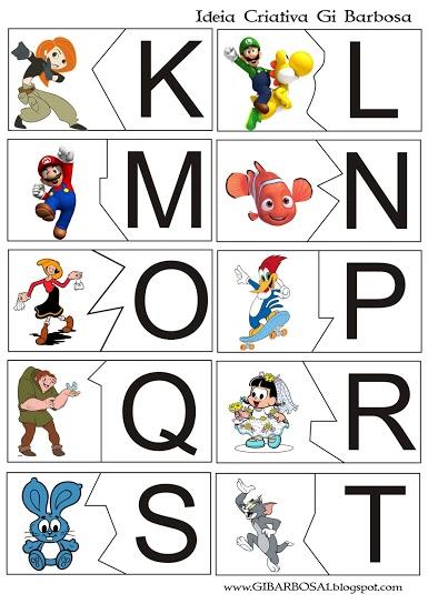 Alfabeto de Personagens Infantis para recortar e montar