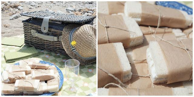 picnic en la playa sandwich cesta