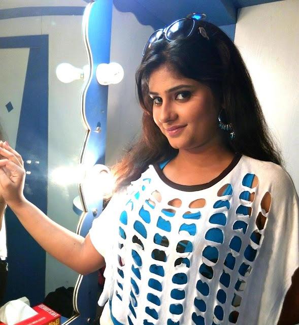 Neha Shree Beautiful HD Wallpaper in White and Blue dress