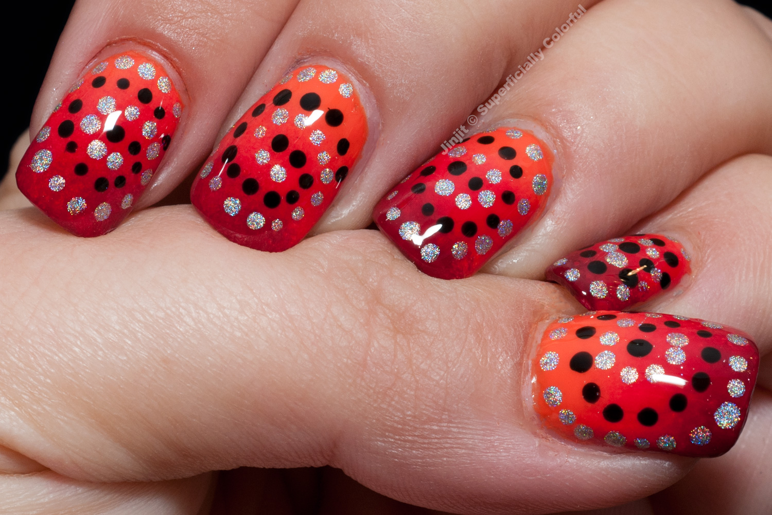Gradient Polka Dots Nail Art Tutorial