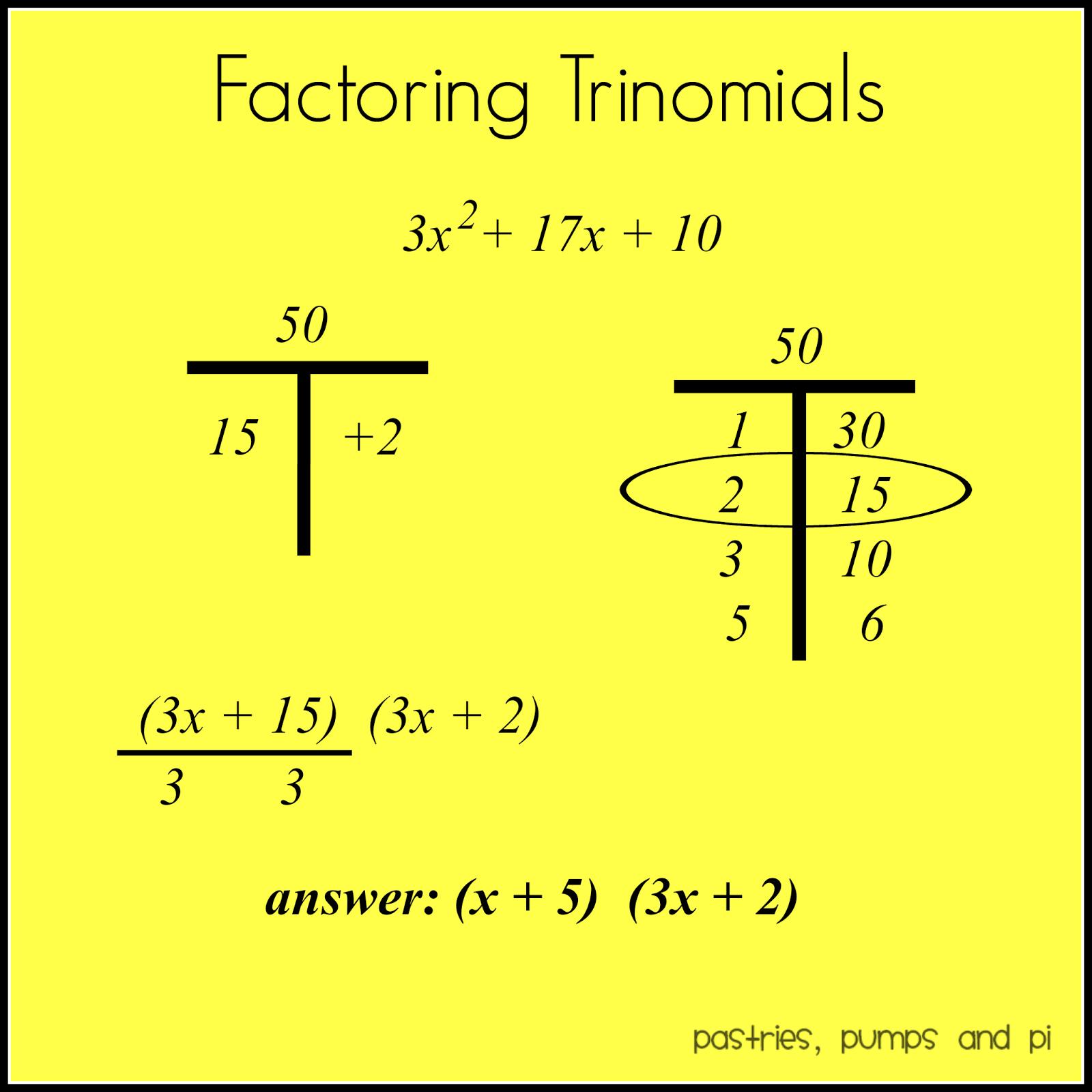 Math homework help factoring trinomials