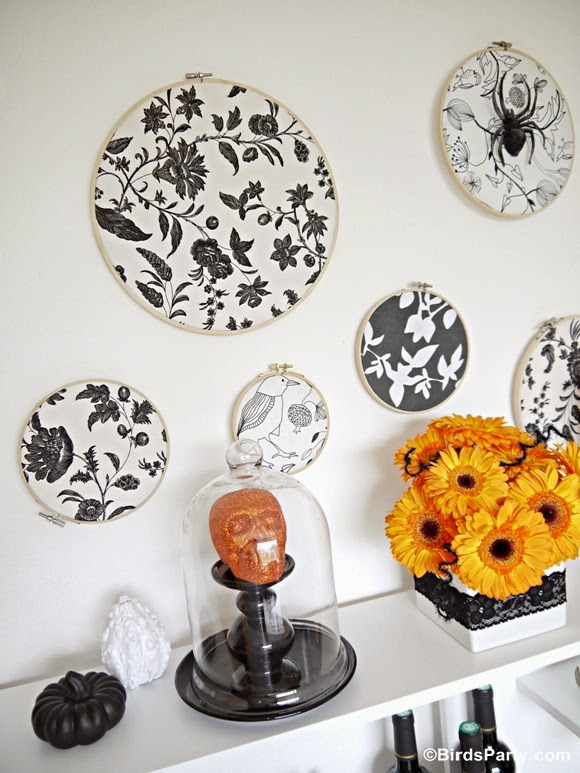 How To Create a Halloween Backdrop Using Embroidery Hoops and Fabric!