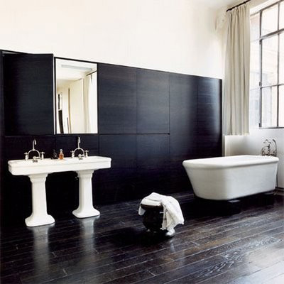 Modern house modern bathroom interior design decorated by for Bathroom design black