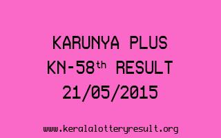 Karunya Plus KN 58 Lottery Result 21-5-2015