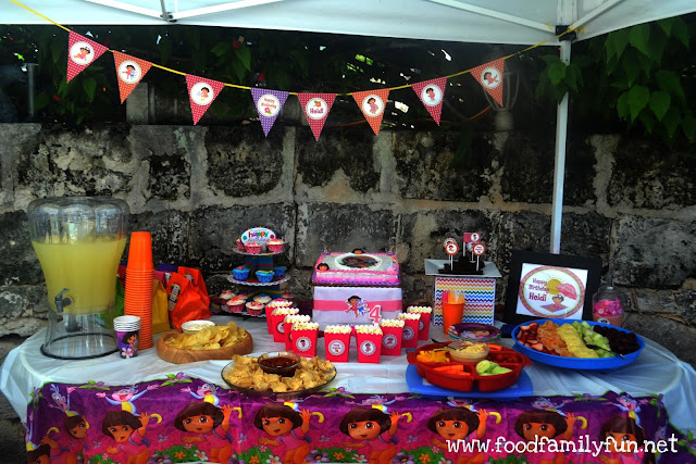 Food family fun dora the explorer birthday party on a for Cheap party ideas for adults