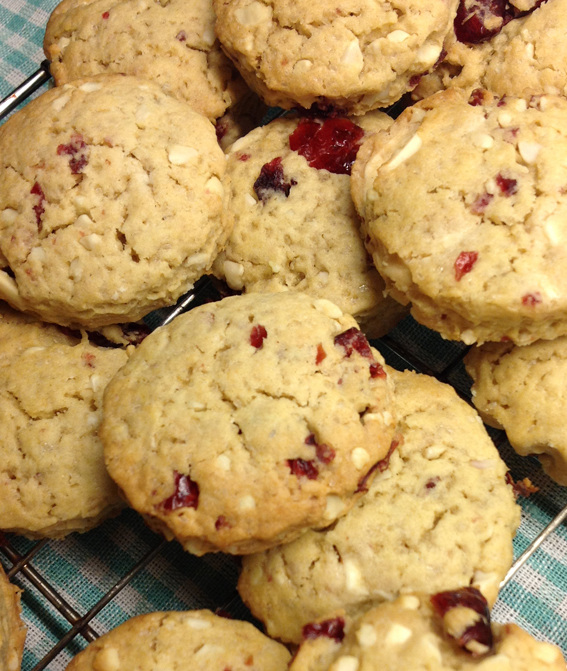 Cherry Top: White Chocolate Almond Cranberry Cookies!