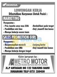 JOB LAMPUNG: Dealer Motor Honda, Senin 06 Oktober 2014