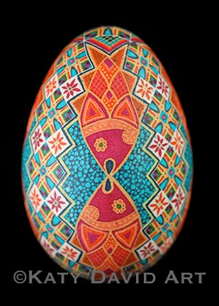 """Kissing Fish"" Goose Egg Pysanky with fish and traditional bands ©Katy David Art"