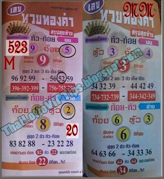 Thai Lotto VIP Tips  | Thai Lotto Special Tip paper 01-06-2014