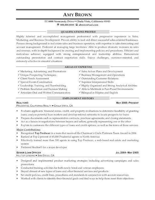 resume samples  real estate consultant resume