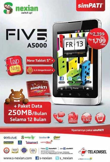 harga S-Nexian Five A5000 terbaru, spesifikasi dan fitur handphone android S-Nexian Five A5000, hp cina layar gede
