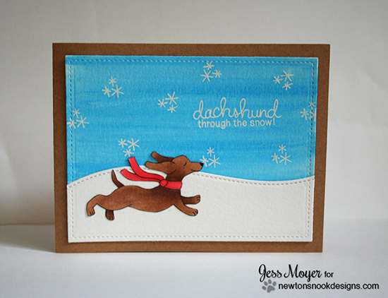 Dachshund through the snow Christmas Card by Jess Moyer for Newton's Nook Designs - Holiday Hounds Dog Stamp set