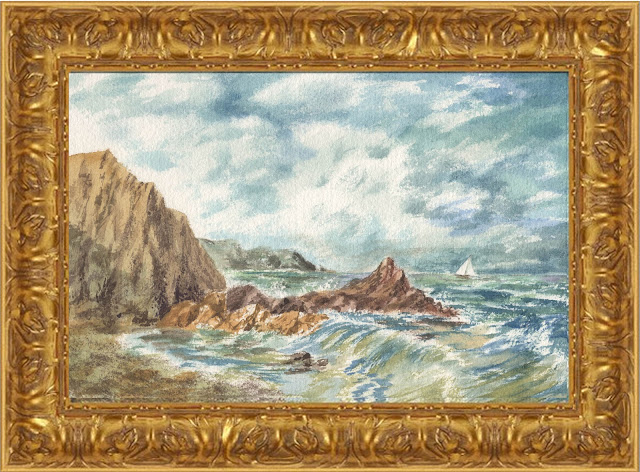 Ocean watercolor painting Old Masters style